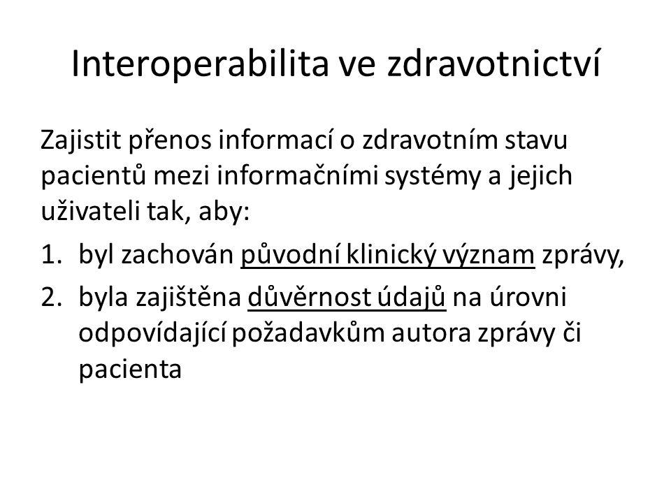 Interoperabilita ve zdravotnictví Zajistit přenos informací o zdravotním stavu pacientů mezi informačními systémy a jejich uživateli tak, aby: 1.byl z