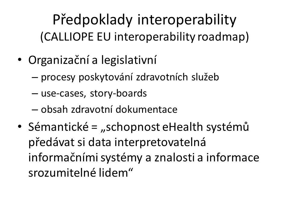 Předpoklady interoperability (CALLIOPE EU interoperability roadmap) • Organizační a legislativní – procesy poskytování zdravotních služeb – use-cases,