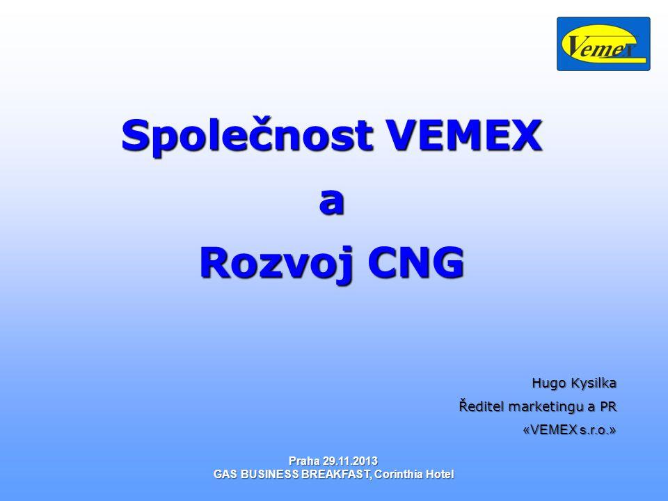 Obsah: Obsah: 1.CNG-Unikátní kombinace způsobená přírodou 2.Ekologie a ekonomika 3.Komplexní využití zemního plynu v dopravě CNG/LNG 4.Světová a evropská statistika 5.Situace na trhu CNG v České Republice 6.CNG v společnosti VEMEX s.r.o.