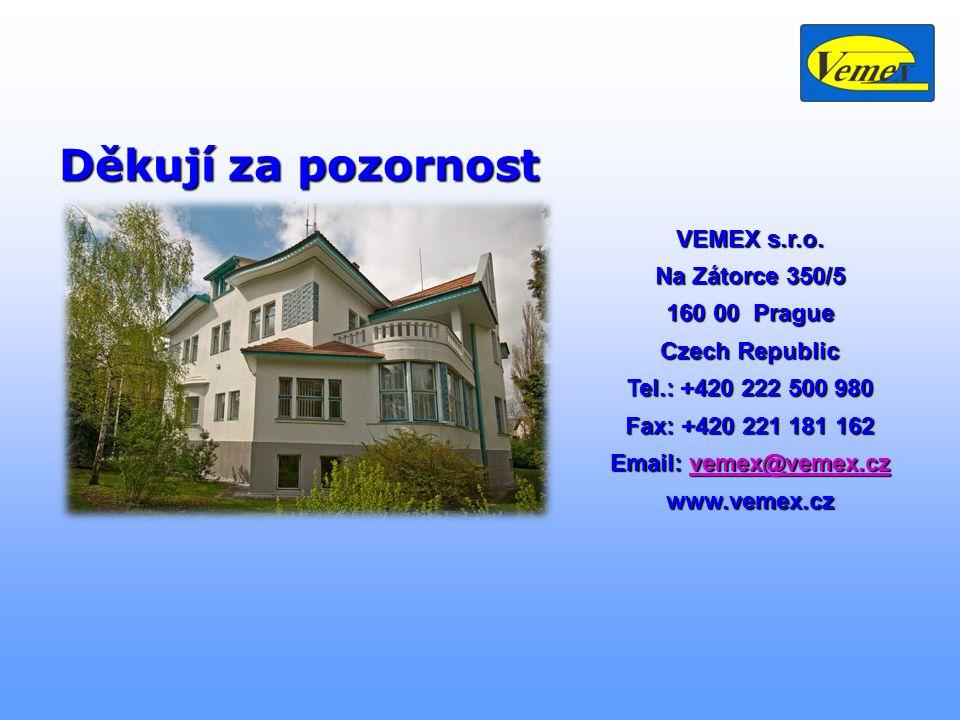 VEMEX s.r.o. Na Zátorce 350/5 160 00 Prague Czech Republic Tel.: +420 222 500 980 Fax: +420 221 181 162 Email: vemex@vemex.cz vemex@vemex.czvemex@veme