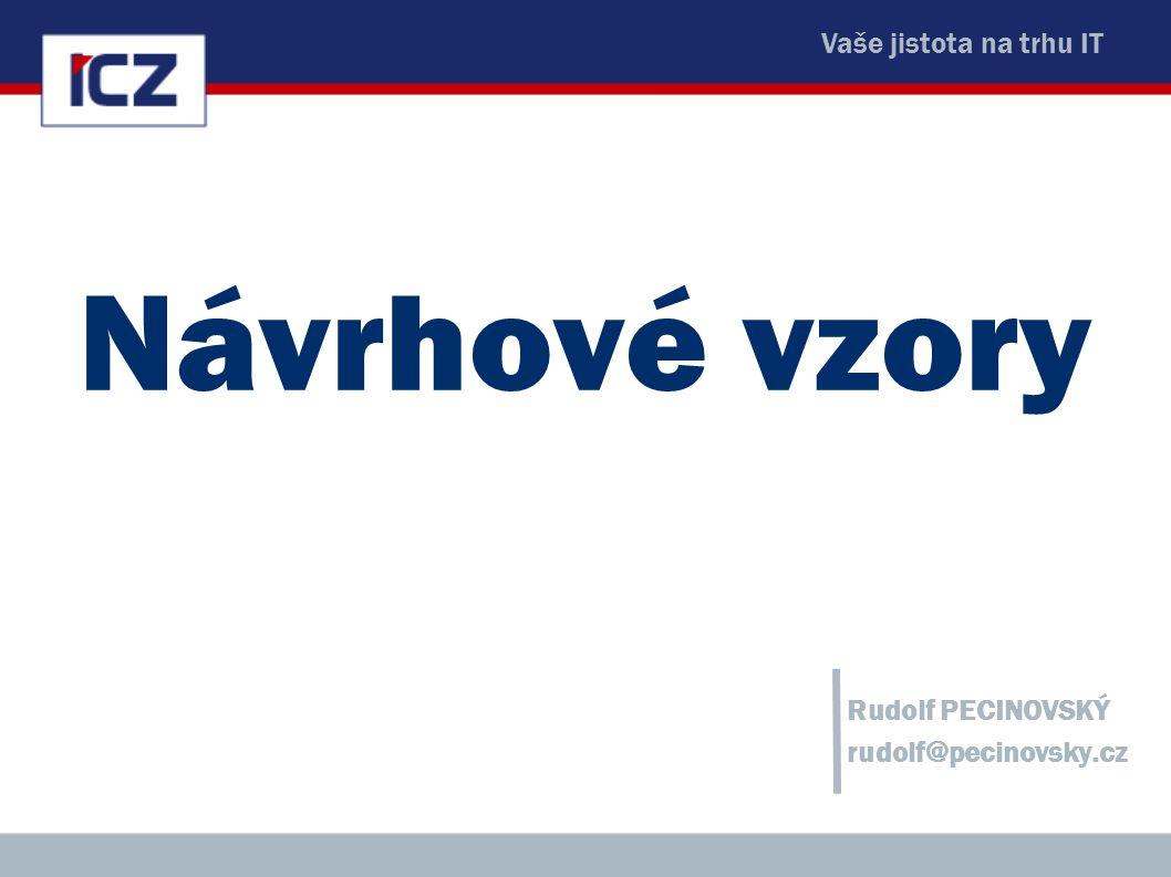 Vaše jistota na trhu IT Návrhové vzory Rudolf PECINOVSKÝ rudolf@pecinovsky.cz