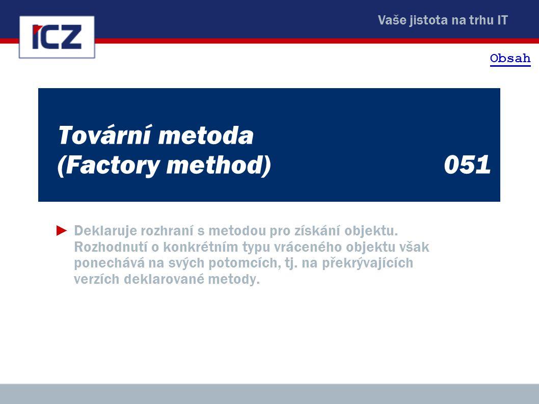 Vaše jistota na trhu IT Tovární metoda (Factory method)051 ►Deklaruje rozhraní s metodou pro získání objektu. Rozhodnutí o konkrétním typu vráceného o