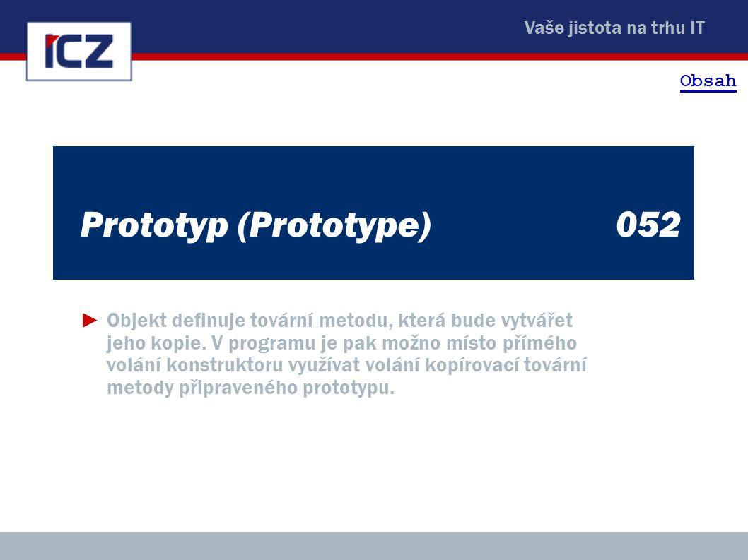 Vaše jistota na trhu IT Prototyp (Prototype)052 ►Objekt definuje tovární metodu, která bude vytvářet jeho kopie. V programu je pak možno místo přímého