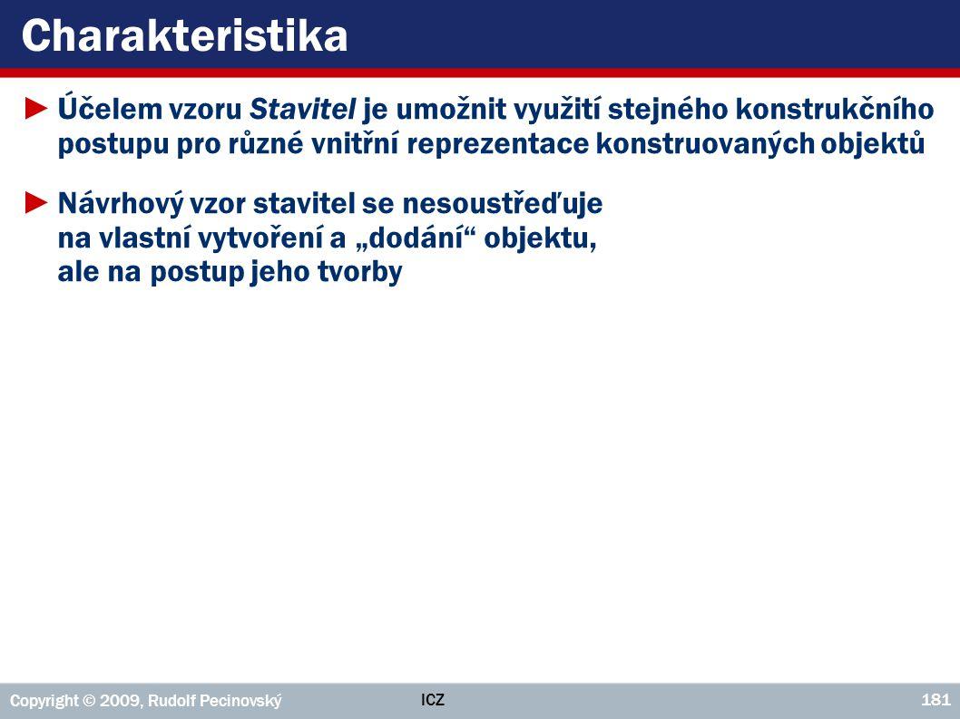 ICZ Copyright © 2009, Rudolf Pecinovský 181 Charakteristika ►Účelem vzoru Stavitel je umožnit využití stejného konstrukčního postupu pro různé vnitřní