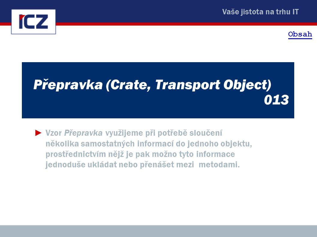 Vaše jistota na trhu IT Přepravka (Crate, Transport Object) 013 ►Vzor Přepravka využijeme při potřebě sloučení několika samostatných informací do jedn
