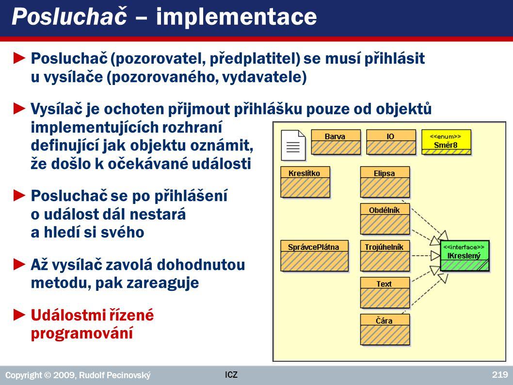 ICZ Copyright © 2009, Rudolf Pecinovský 219 Posluchač – implementace ►Posluchač (pozorovatel, předplatitel) se musí přihlásit u vysílače (pozorovaného