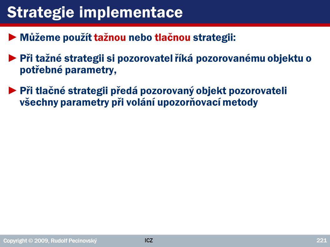ICZ Copyright © 2009, Rudolf Pecinovský 221 Strategie implementace ►Můžeme použít tažnou nebo tlačnou strategii: ►Při tažné strategii si pozorovatel ř