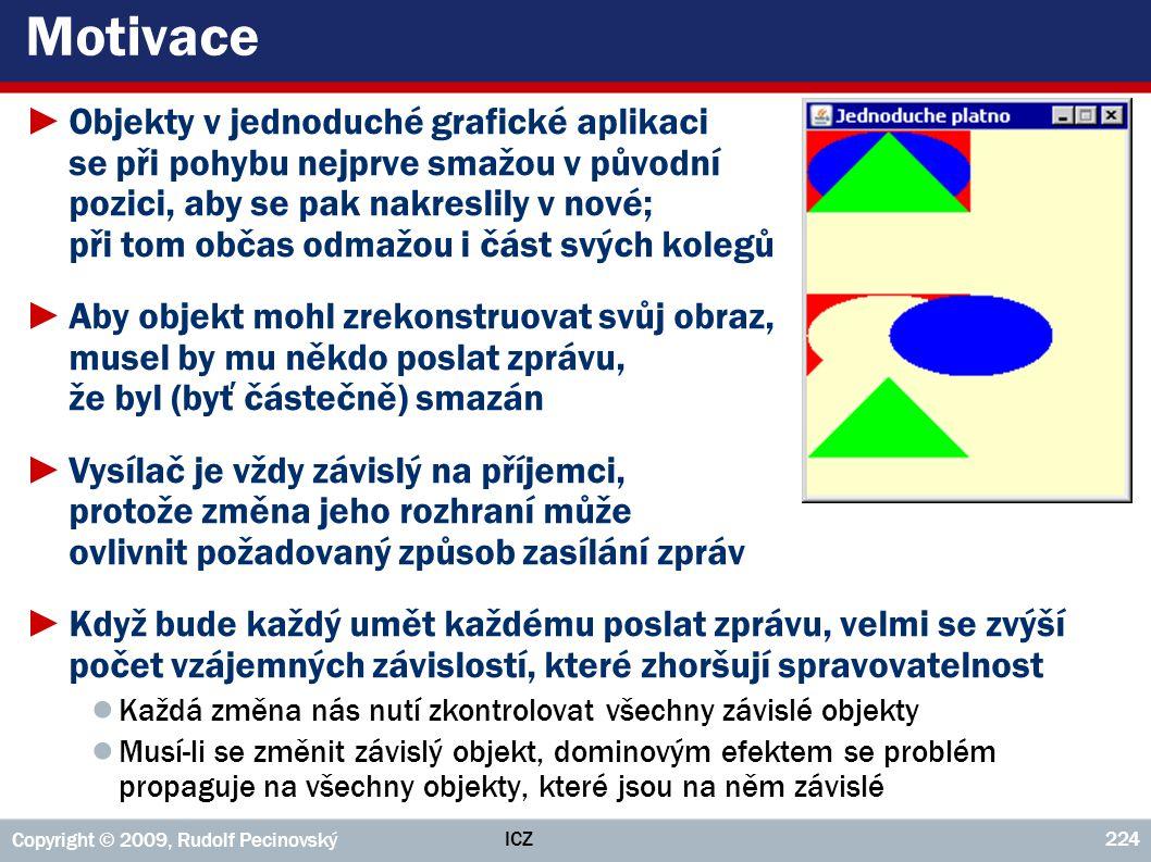 ICZ Copyright © 2009, Rudolf Pecinovský 224 Motivace ►Objekty v jednoduché grafické aplikaci se při pohybu nejprve smažou v původní pozici, aby se pak