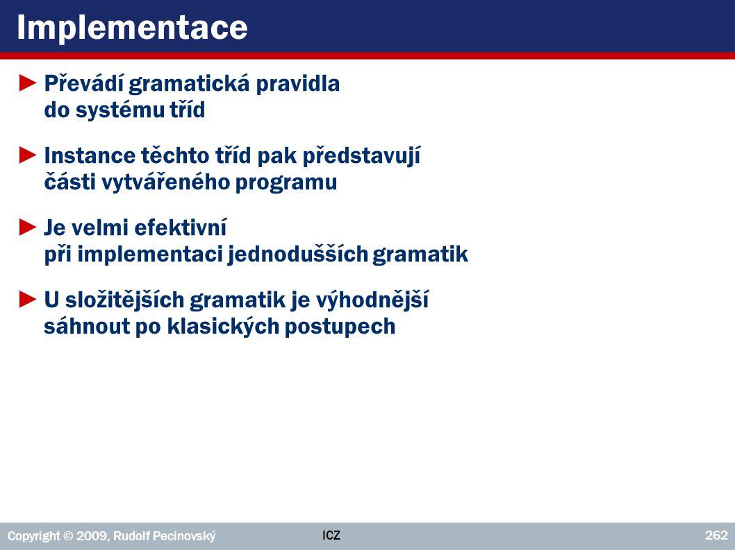 ICZ Copyright © 2009, Rudolf Pecinovský 262 Implementace ►Převádí gramatická pravidla do systému tříd ►Instance těchto tříd pak představují části vytv