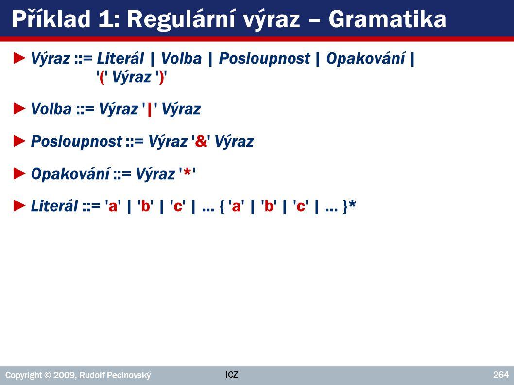 ICZ Copyright © 2009, Rudolf Pecinovský 264 Příklad 1: Regulární výraz – Gramatika ►Výraz ::= Literál | Volba | Posloupnost | Opakování | '(' Výraz ')