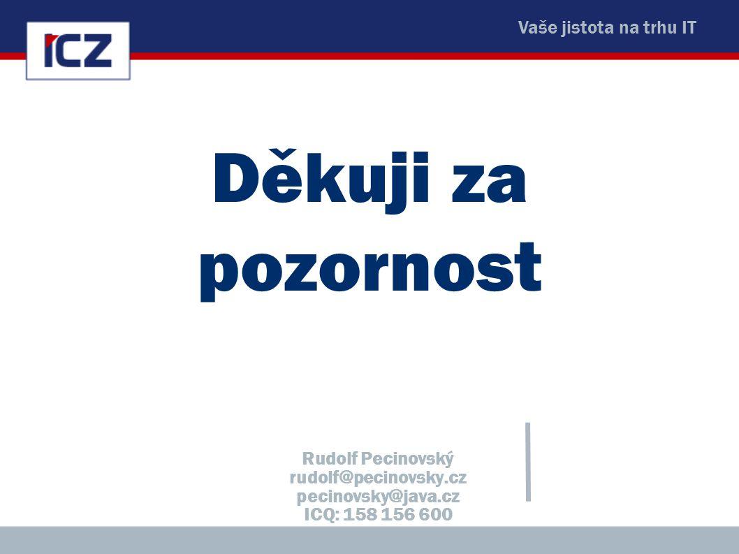 Vaše jistota na trhu IT Děkuji za pozornost Rudolf Pecinovský rudolf@pecinovsky.cz pecinovsky@java.cz ICQ: 158 156 600