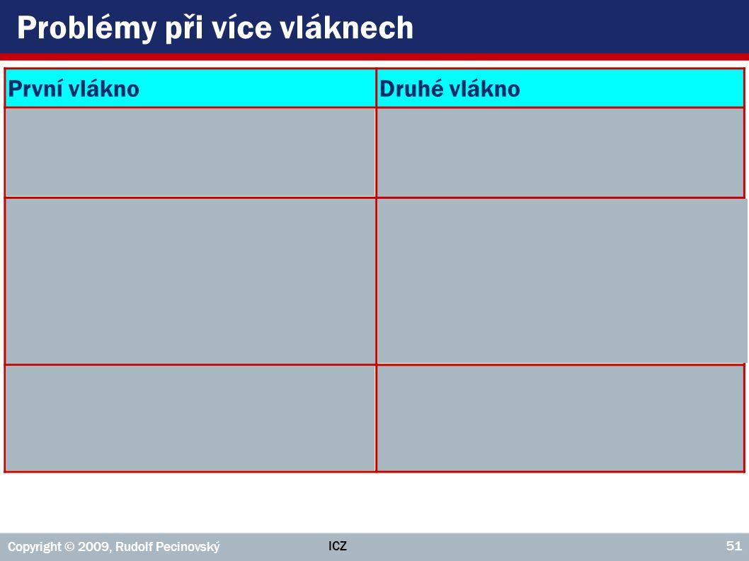 ICZ Copyright © 2009, Rudolf Pecinovský 51 Problémy při více vláknech První vláknoDruhé vlákno Jedináček.getInstance() { if( JEDINÁČEK == null ) { Jed