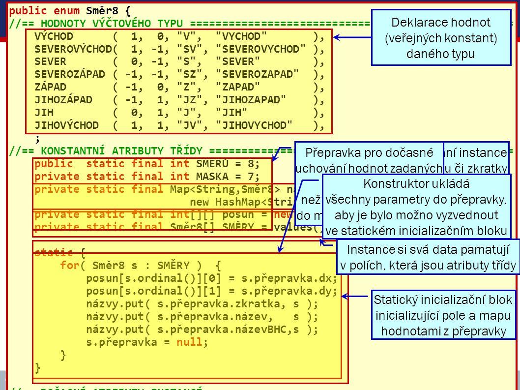ICZ Copyright © 2009, Rudolf Pecinovský 62 Vytváření instancí třídy Směr8 public enum Směr8 { //== HODNOTY VÝČTOVÉHO TYPU ============================
