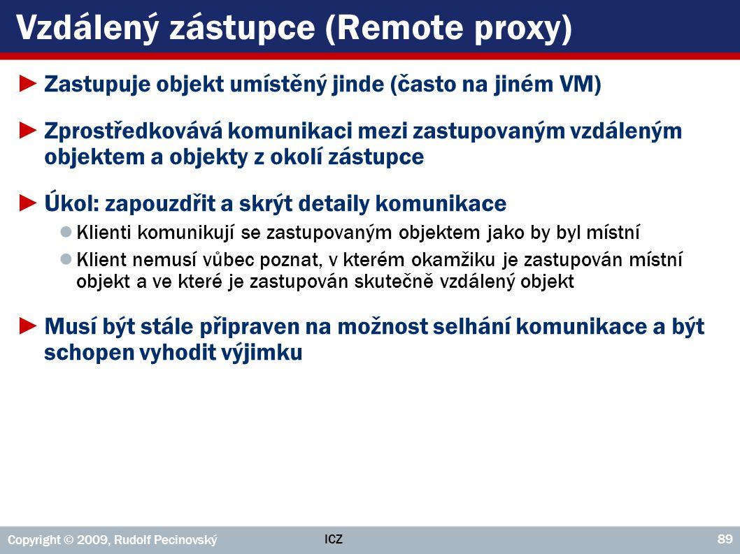 ICZ Copyright © 2009, Rudolf Pecinovský 89 Vzdálený zástupce (Remote proxy) ►Zastupuje objekt umístěný jinde (často na jiném VM) ►Zprostředkovává komu