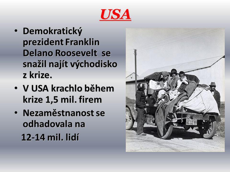 USA • Demokratický prezident Franklin Delano Roosevelt se snažil najít východisko z krize. • V USA krachlo během krize 1,5 mil. firem • Nezaměstnanost