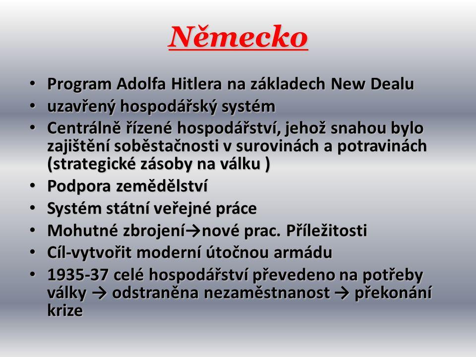 Německo • Program Adolfa Hitlera na základech New Dealu • uzavřený hospodářský systém • Centrálně řízené hospodářství, jehož snahou bylo zajištění sob