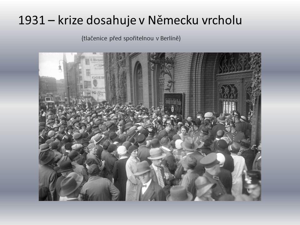 1931 – krize dosahuje v Německu vrcholu (tlačenice před spořitelnou v Berlíně)