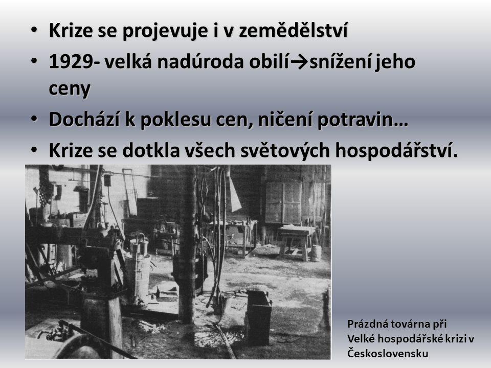 • Krize se projevuje i v zemědělství • 1929- velká nadúroda obilí→snížení jeho ceny • Dochází k poklesu cen, ničení potravin… • Krize se dotkla všech