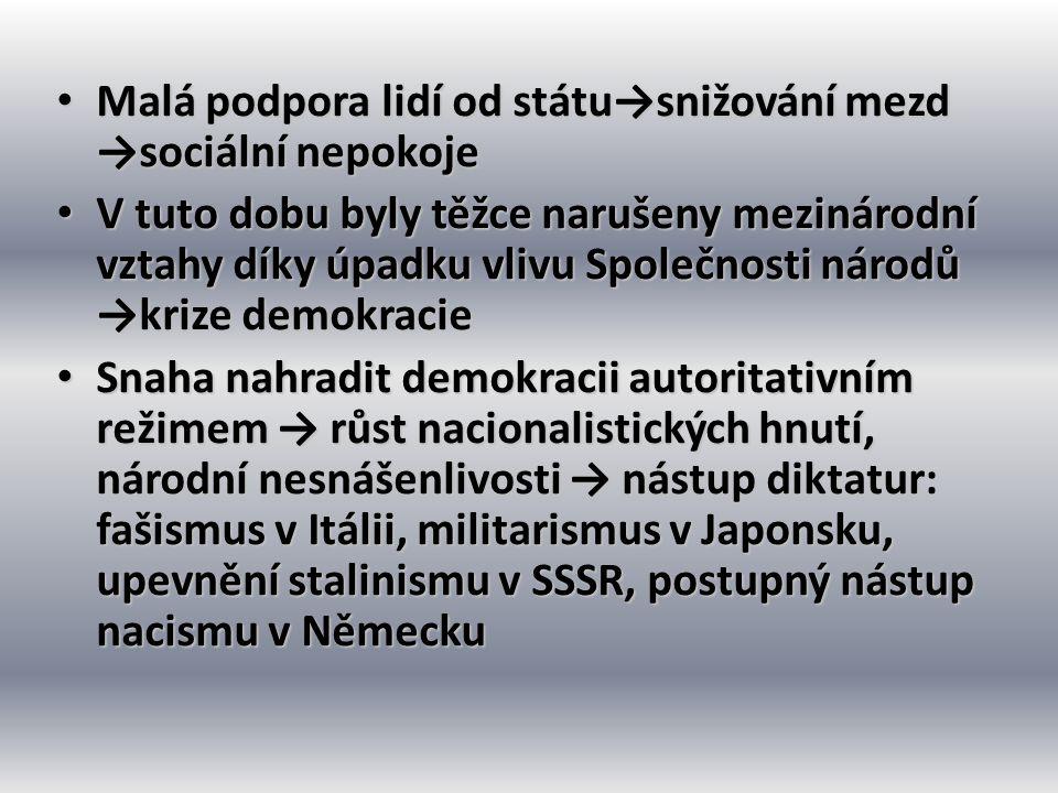 • Malá podpora lidí od státu→snižování mezd →sociální nepokoje • V tuto dobu byly těžce narušeny mezinárodní vztahy díky úpadku vlivu Společnosti náro