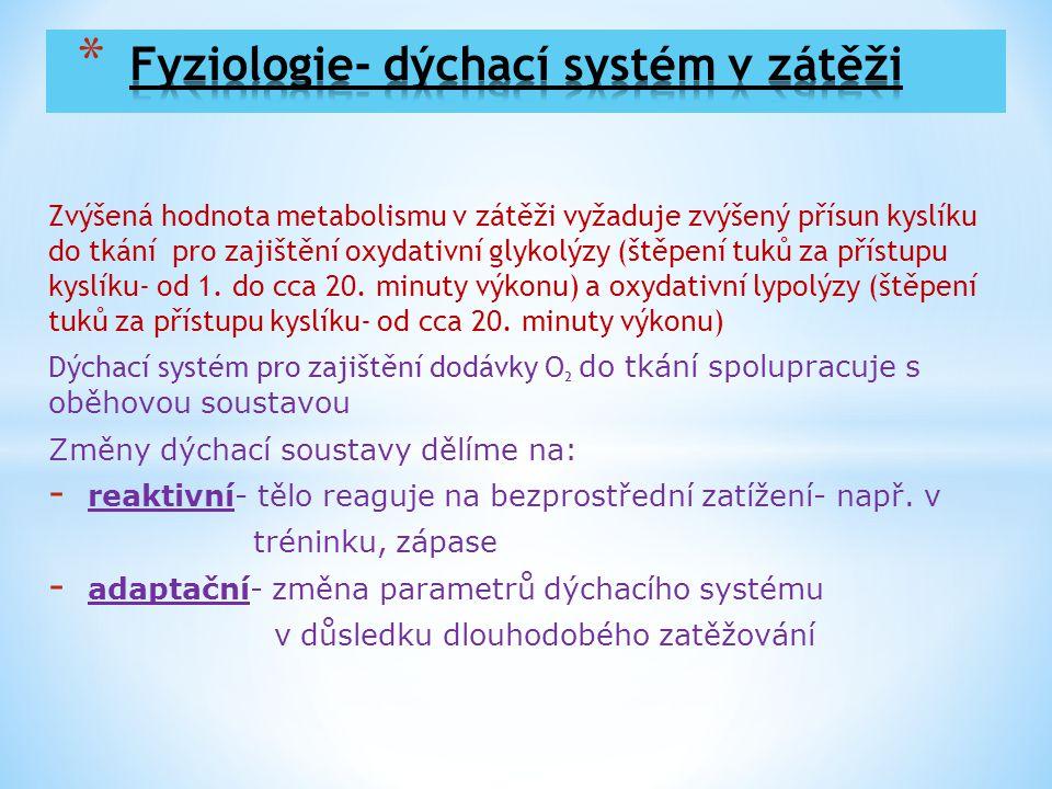 Zvýšená hodnota metabolismu v zátěži vyžaduje zvýšený přísun kyslíku do tkání pro zajištění oxydativní glykolýzy (štěpení tuků za přístupu kyslíku- od
