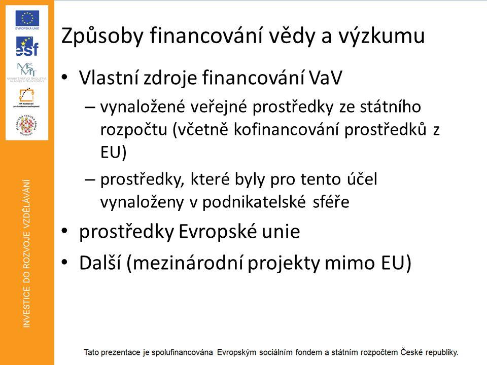 Způsoby financování vědy a výzkumu • Vlastní zdroje financování VaV – vynaložené veřejné prostředky ze státního rozpočtu (včetně kofinancování prostředků z EU) – prostředky, které byly pro tento účel vynaloženy v podnikatelské sféře • prostředky Evropské unie • Další (mezinárodní projekty mimo EU)