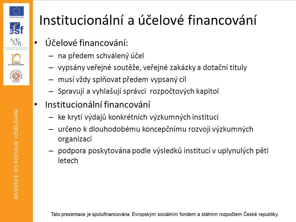 Institucionální a účelové financování • Účelové financování: – na předem schválený účel – vypsány veřejné soutěže, veřejné zakázky a dotační tituly – musí vždy splňovat předem vypsaný cíl – Spravují a vyhlašují správci rozpočtových kapitol • Institucionální financování – ke krytí výdajů konkrétních výzkumných institucí – určeno k dlouhodobému koncepčnímu rozvoji výzkumných organizací – podpora poskytována podle výsledků institucí v uplynulých pěti letech