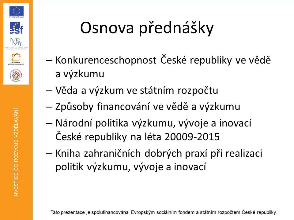 Podíl institucionálního a účelového financování v ČR