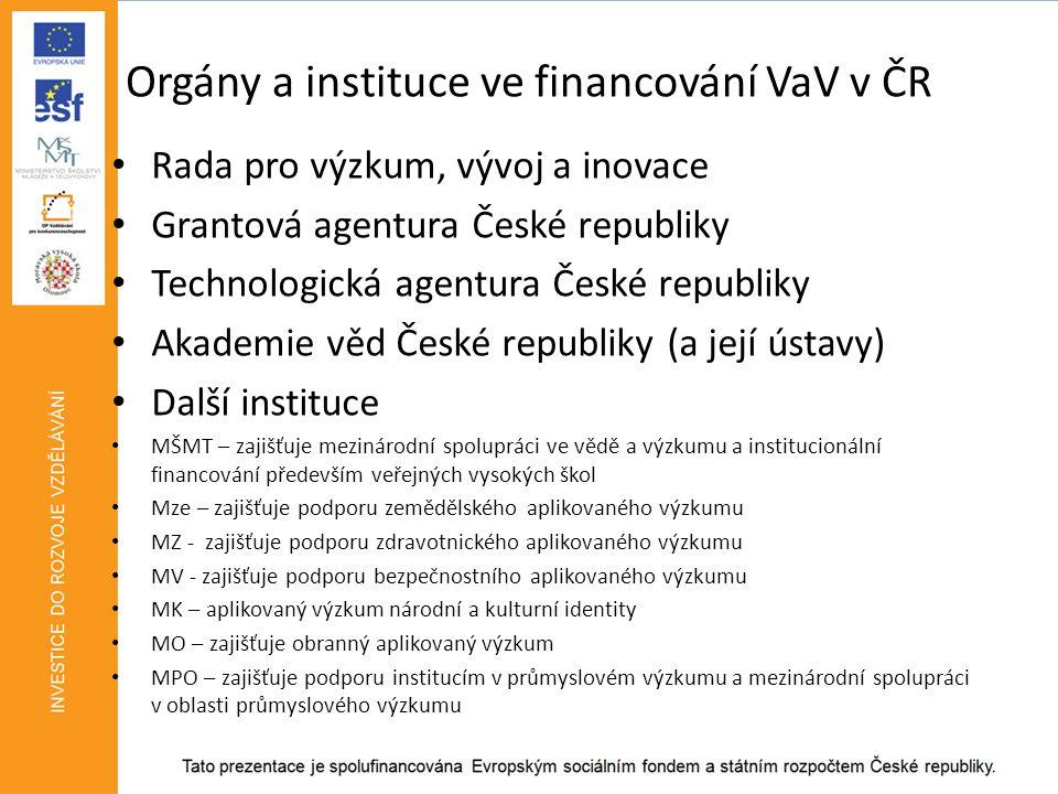 Orgány a instituce ve financování VaV v ČR • Rada pro výzkum, vývoj a inovace • Grantová agentura České republiky • Technologická agentura České republiky • Akademie věd České republiky (a její ústavy) • Další instituce • MŠMT – zajišťuje mezinárodní spolupráci ve vědě a výzkumu a institucionální financování především veřejných vysokých škol • Mze – zajišťuje podporu zemědělského aplikovaného výzkumu • MZ - zajišťuje podporu zdravotnického aplikovaného výzkumu • MV - zajišťuje podporu bezpečnostního aplikovaného výzkumu • MK – aplikovaný výzkum národní a kulturní identity • MO – zajišťuje obranný aplikovaný výzkum • MPO – zajišťuje podporu institucím v průmyslovém výzkumu a mezinárodní spolupráci v oblasti průmyslového výzkumu