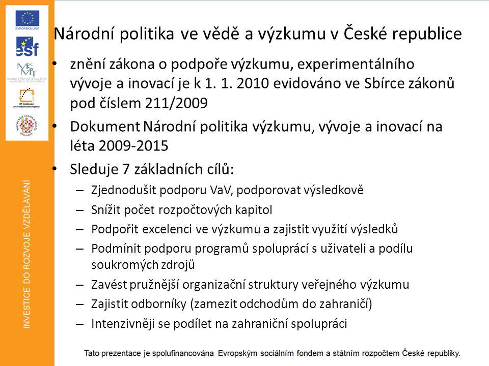 Národní politika ve vědě a výzkumu v České republice • znění zákona o podpoře výzkumu, experimentálního vývoje a inovací je k 1.