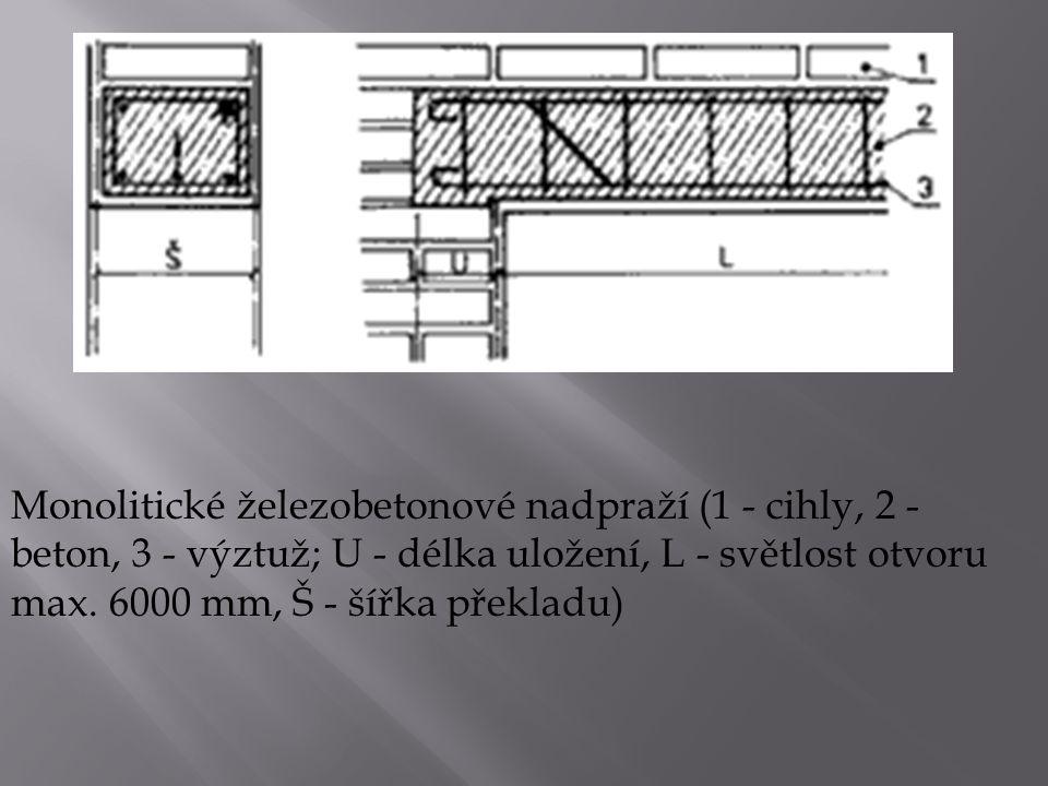 Monolitické železobetonové nadpraží (1 - cihly, 2 - beton, 3 - výztuž; U - délka uložení, L - světlost otvoru max. 6000 mm, Š - šířka překladu)