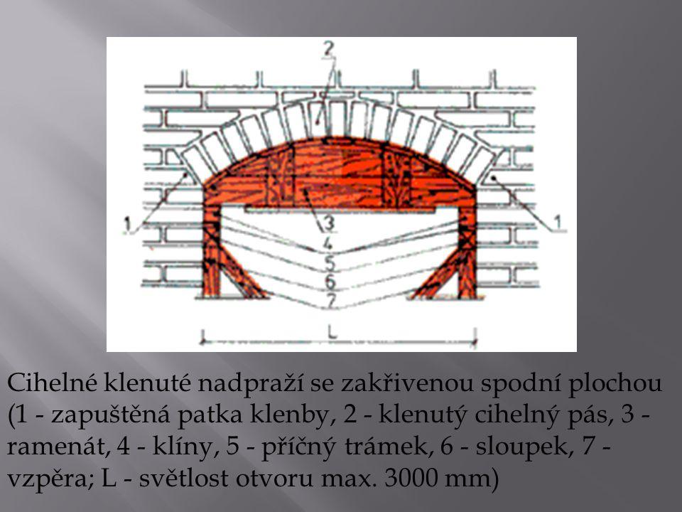 Cihelné klenuté nadpraží se zakřivenou spodní plochou (1 - zapuštěná patka klenby, 2 - klenutý cihelný pás, 3 - ramenát, 4 - klíny, 5 - příčný trámek, 6 - sloupek, 7 - vzpěra; L - světlost otvoru max.