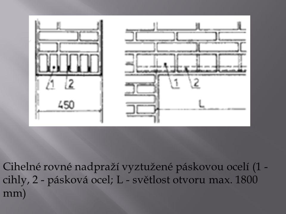 Cihelné rovné nadpraží vyztužené páskovou ocelí (1 - cihly, 2 - pásková ocel; L - světlost otvoru max. 1800 mm)