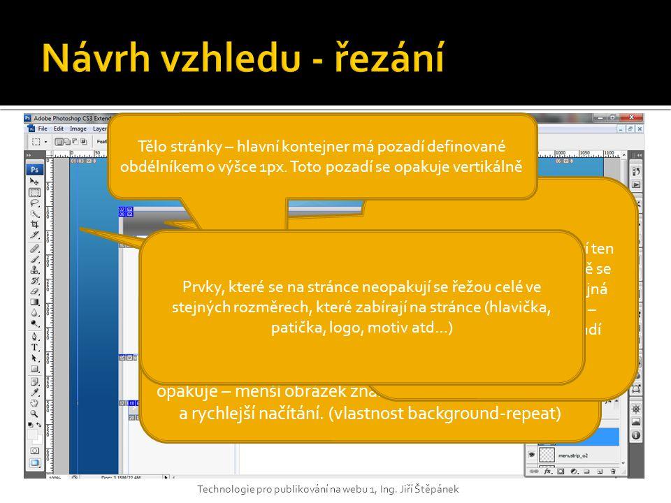 Obdélník pozadí má šířku 1px – v CSS je pozadí definováno barvou a právě tímto obrázkem, který se opakuje po celé šířce stránky. Obecně pro prvky repr