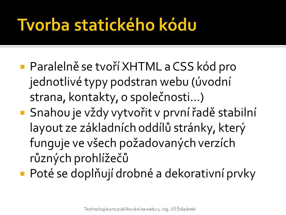  Paralelně se tvoří XHTML a CSS kód pro jednotlivé typy podstran webu (úvodní strana, kontakty, o společnosti…)  Snahou je vždy vytvořit v první řad