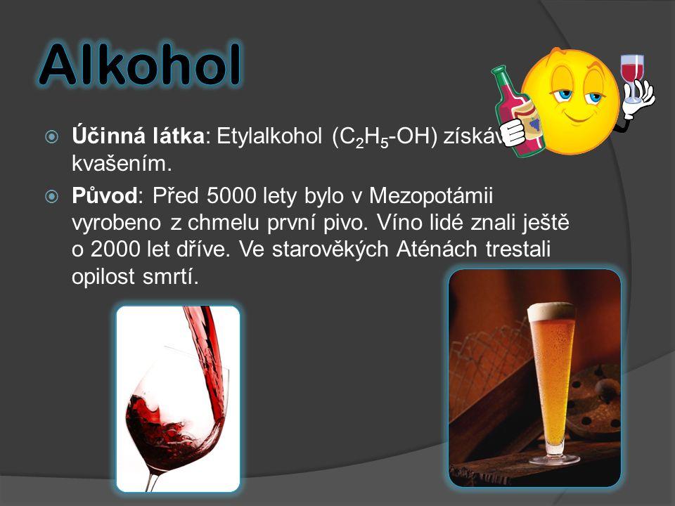  Účinná látka: Etylalkohol (C 2 H 5 -OH) získáván kvašením.  Původ: Před 5000 lety bylo v Mezopotámii vyrobeno z chmelu první pivo. Víno lidé znali