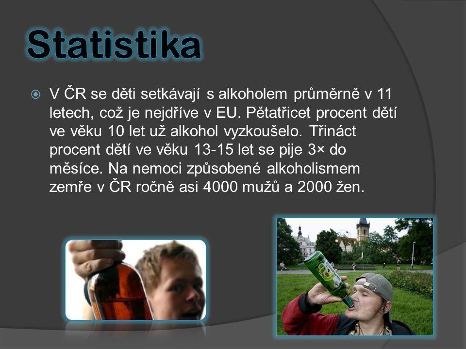  V ČR se děti setkávají s alkoholem průměrně v 11 letech, což je nejdříve v EU. Pětatřicet procent dětí ve věku 10 let už alkohol vyzkoušelo. Třináct