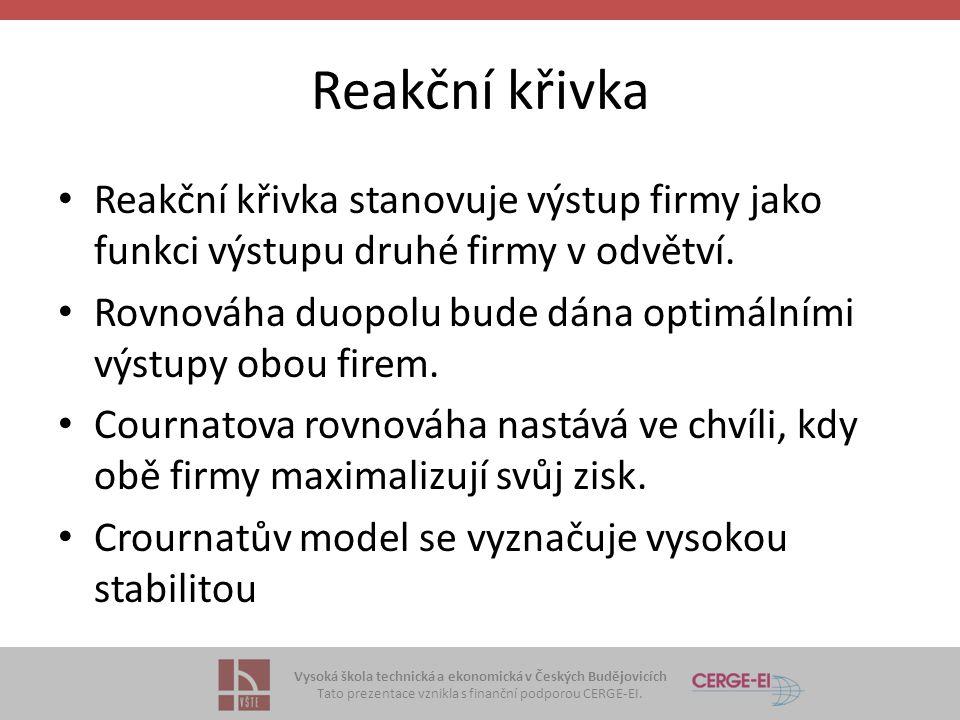 Vysoká škola technická a ekonomická v Českých Budějovicích Tato prezentace vznikla s finanční podporou CERGE-EI. Reakční křivka • Reakční křivka stano