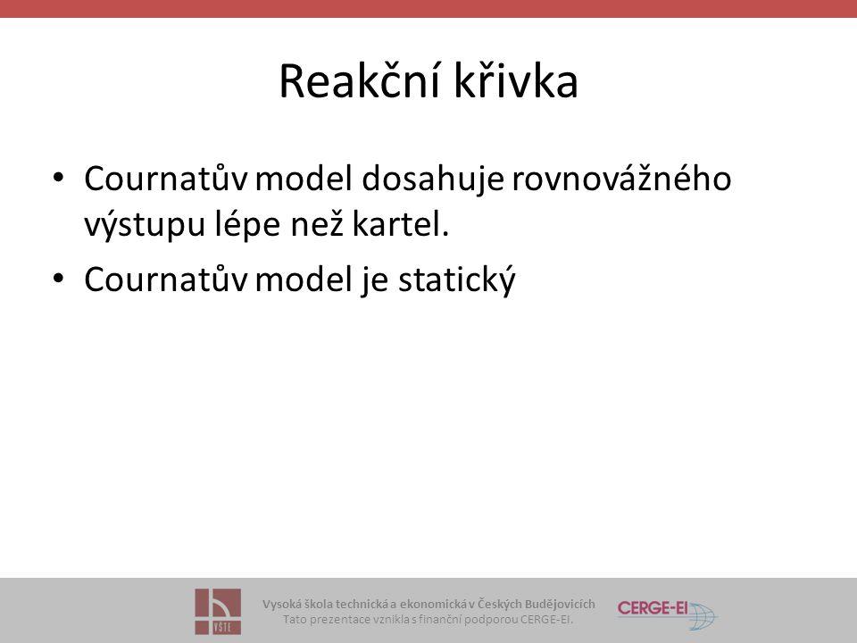 Vysoká škola technická a ekonomická v Českých Budějovicích Tato prezentace vznikla s finanční podporou CERGE-EI. Reakční křivka • Cournatův model dosa