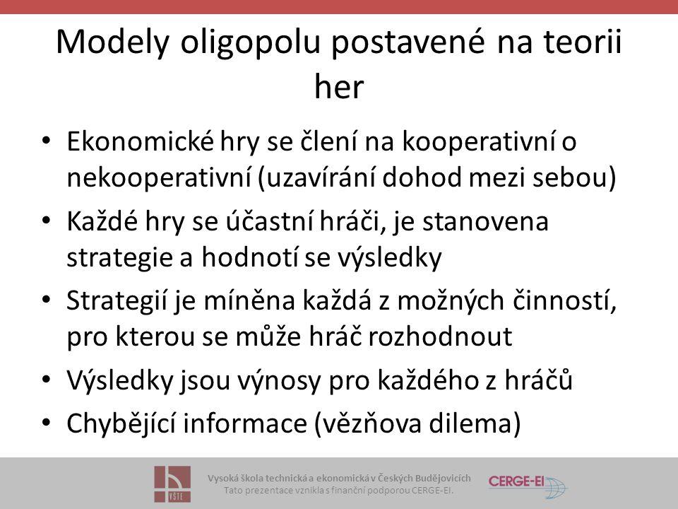 Vysoká škola technická a ekonomická v Českých Budějovicích Tato prezentace vznikla s finanční podporou CERGE-EI. Modely oligopolu postavené na teorii