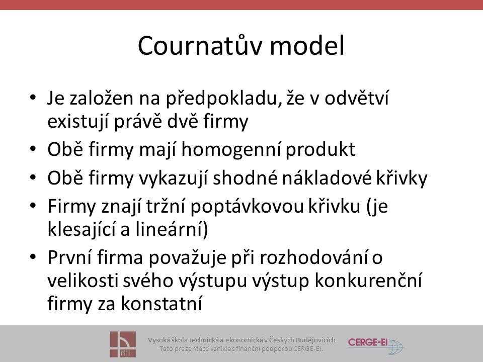 Vysoká škola technická a ekonomická v Českých Budějovicích Tato prezentace vznikla s finanční podporou CERGE-EI. Cournatův model • Je založen na předp