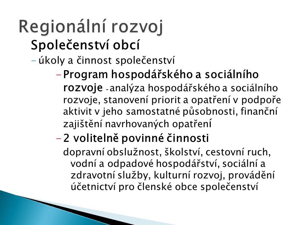 Společenství obcí -úkoly a činnost společenství -Program hospodářského a sociálního rozvoje - analýza hospodářského a sociálního rozvoje, stanovení pr