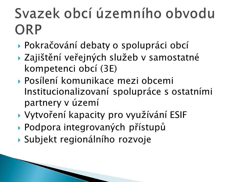  Pokračování debaty o spolupráci obcí  Zajištění veřejných služeb v samostatné kompetenci obcí (3E)  Posílení komunikace mezi obcemi Institucionali