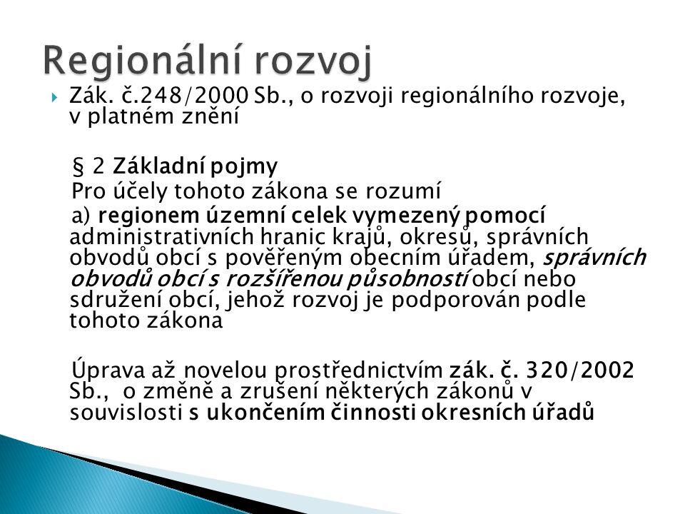  Zák. č.248/2000 Sb., o rozvoji regionálního rozvoje, v platném znění § 2 Základní pojmy Pro účely tohoto zákona se rozumí a) regionem územní celek v