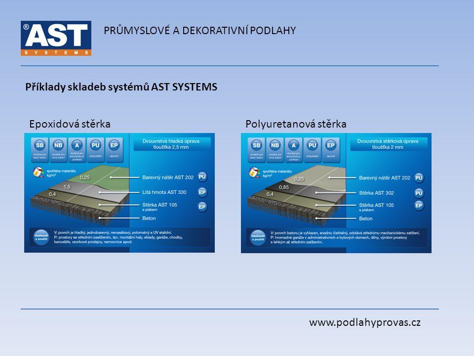 PRŮMYSLOVÉ A DEKORATIVNÍ PODLAHY www.podlahyprovas.cz Příklady skladeb systémů AST SYSTEMS Epoxidová stěrkaPolyuretanová stěrka