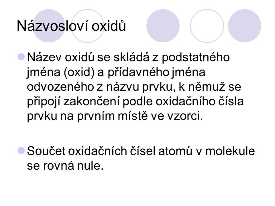 Názvosloví oxidů  Název oxidů se skládá z podstatného jména (oxid) a přídavného jména odvozeného z názvu prvku, k němuž se připojí zakončení podle ox