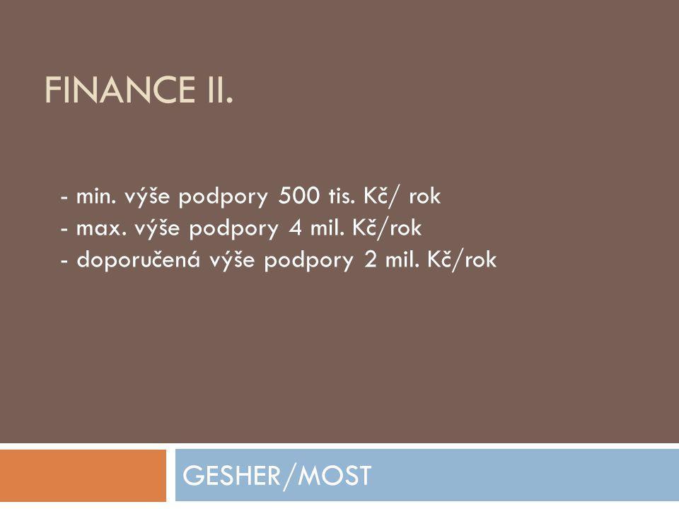 FINANCE II.GESHER/MOST - min. výše podpory 500 tis.