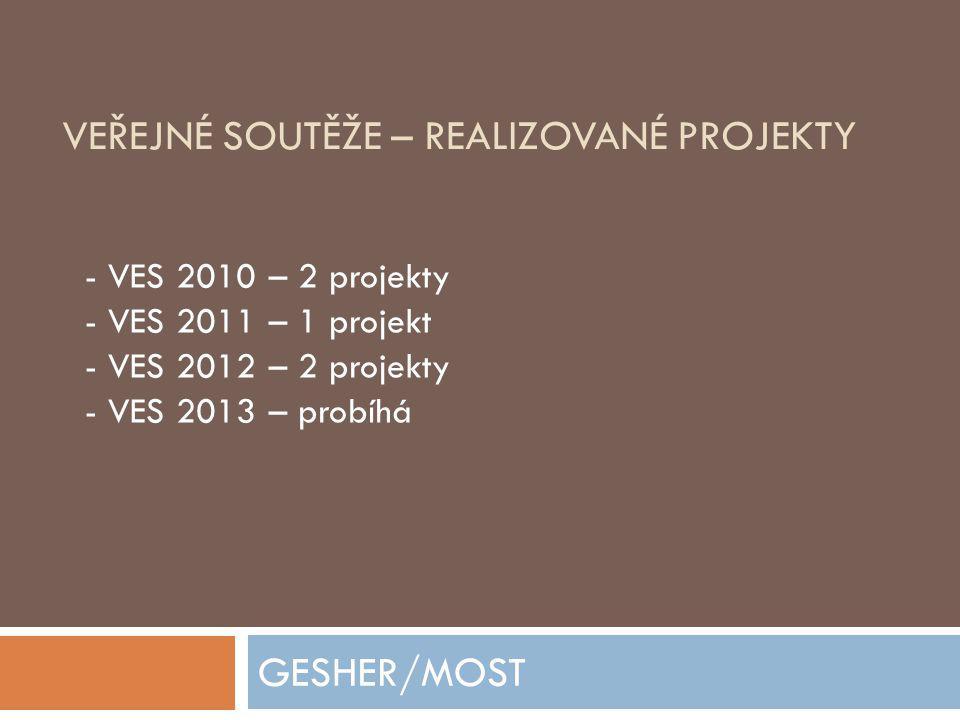 VEŘEJNÉ SOUTĚŽE – REALIZOVANÉ PROJEKTY GESHER/MOST - VES 2010 – 2 projekty - VES 2011 – 1 projekt - VES 2012 – 2 projekty - VES 2013 – probíhá