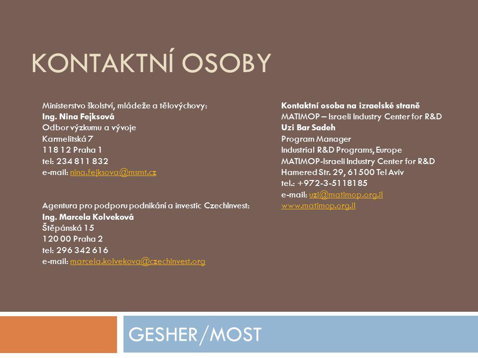 KONTAKTNÍ OSOBY GESHER/MOST Ministerstvo školství, mládeže a tělovýchovy: Kontaktní osoba na izraelské straně Ing.