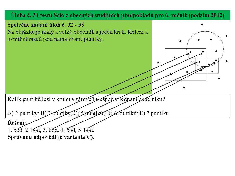 Úloha č. 34 testu Scio z obecných studijních předpokladů pro 6. ročník (podzim 2012) Kolik puntíků leží v kruhu a zároveň alespoň v jednom obdélníku?