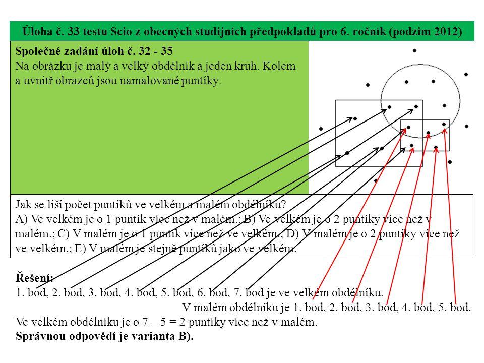 Úloha č. 33 testu Scio z obecných studijních předpokladů pro 6. ročník (podzim 2012) Jak se liší počet puntíků ve velkém a malém obdélníku? A) Ve velk